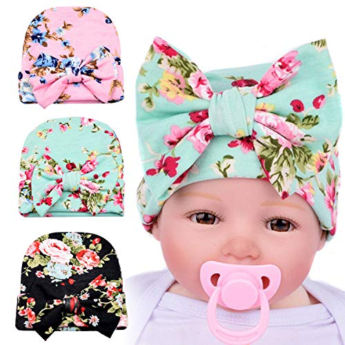DRESHOW BQUBO Newborn Hospital Hat Infant Baby Hat Cap with Big Bow Soft Cute Knot Nursery Beanie (3 Pack Bow Cloth Flower Print A/ 0-3 Month)