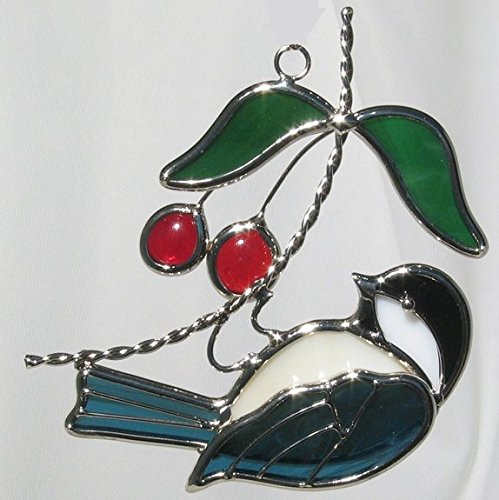 Hanging Chickadee Stained Glass Suncatcher WITHOUT Ornament Stand