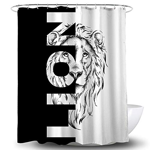 Bathroom Decor Shower Curtains Black&White Lion Shower Curtains for Adult Bathroom Waterproof Printed Fabric Shower Curtain Sets with 12 Hooks, 72 x 72