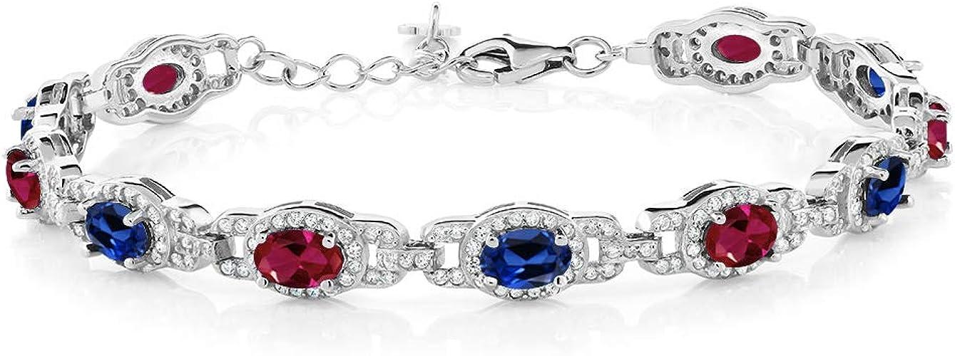 Custom Order 8 inch Created Ruby 6mm Bezel Round Bracelet .925 Sterling Silver