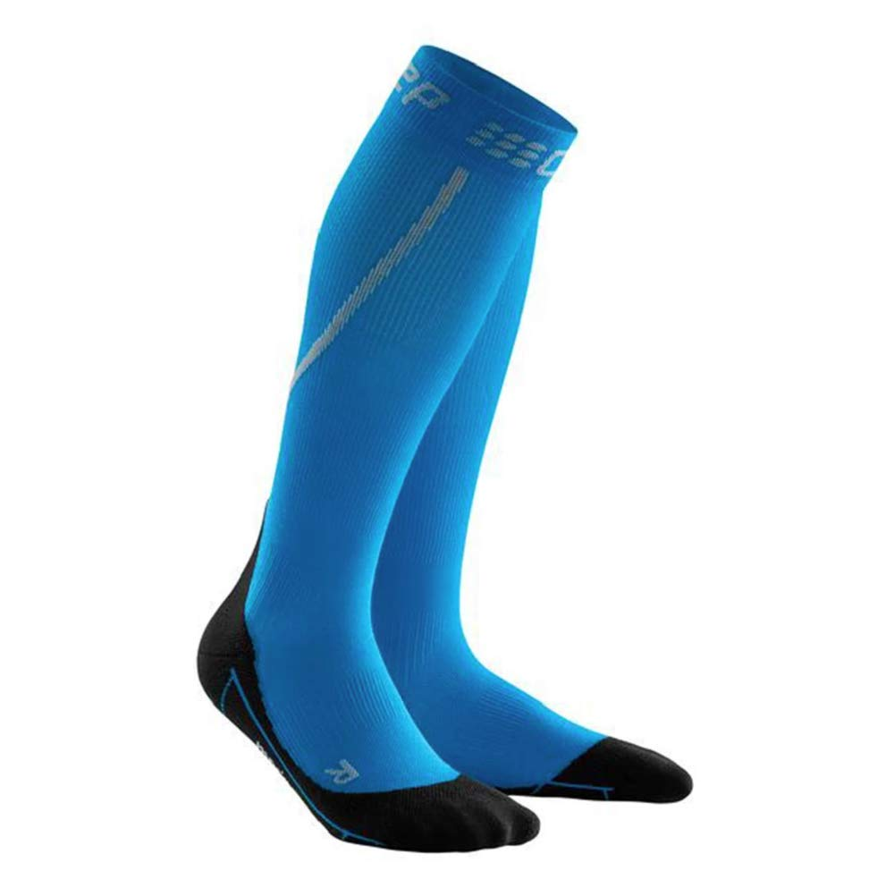 Mens Long Compression Wool Sock - CEP Trail Merino (Electric Blue/Black) III by CEP