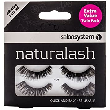 93fcf1d22df Salon Systems Naturalash Black False Eyelashes + Lash Adhesive 107 Twin Pack