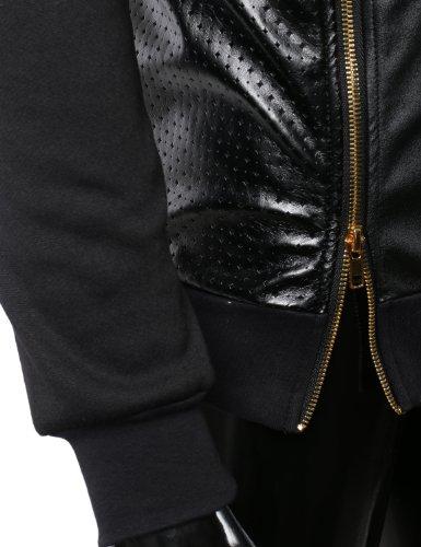 SMITHJAY Mens Hip Hop Leather Padding Shoulder Sweatshirt