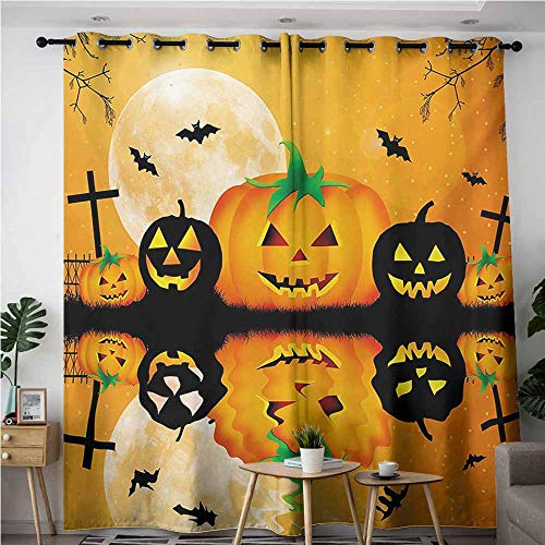 AndyTours Living Room/Bedroom Window Curtains,Halloween,Spooky Carved Halloween Jack o Lantern and Full Moon with Bats and Grave Lake,Blackout Window Curtain 2 Panel,W72x108L,Orange Black ()