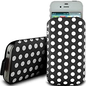 BLACK POLKA DOT PREMIUM PU LEATHER PULL FLIP TAB CASE COVER POUCH FOR LG CF360 BY N4U ACCESSORIES