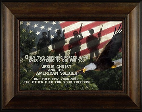 Bald Eagle Framed Art (Died For You By Todd Thunstedt 20x26 Patriotic Soldier Military Funeral War Constitution Department of Washington Lincoln Reagan VFW Legion Bald Eagle Framed Art Print Wall Décor Picture)