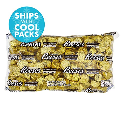 REESE'S Peanut Butter Cup Miniatures, Gold Chocolate Candy, 66.7 Ounce Bulk Bag (About 205 Pieces)]()