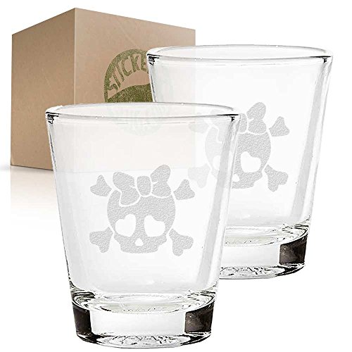 Girly Skull Wearing Bow etched glass shot glass set of two e
