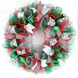 Mesh Christmas Wreath   Red Emerald Green Silver Outdoor Front Door Wreath : C4 57