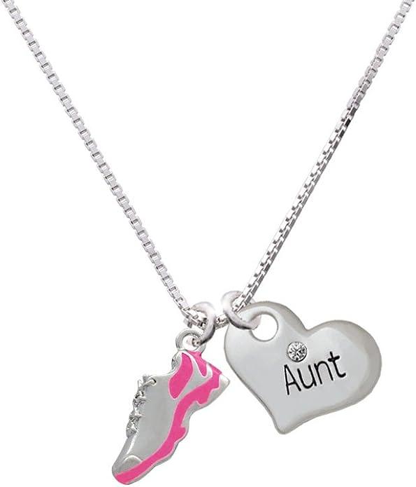 Silvertone Fucshia Pink Fashion Jewelry ~ Shoe Pendant Necklace