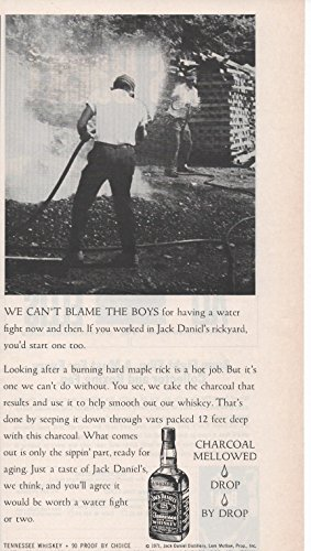 """Vintage Magazine Print Ad: 1979 Jack Daniel's Distillery, Old No 7 Brand Tennessee Whiskey, Rickyard Water Fight """"Charcoal mellowed, drop by drop"""""""