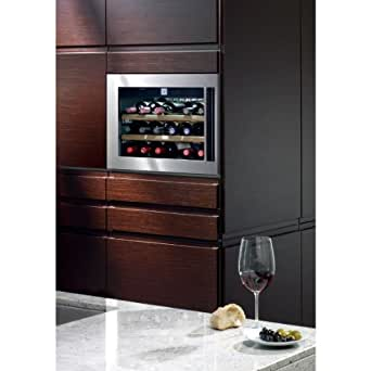 HWS1800 24 Built In Wine Cooler with 18 Bottle Capacity Touch Electronic Control Telescopic Wine Shelves Charcoal Filter LED Lighting and UV Protection Insulated Glass Door: Stainless Steel