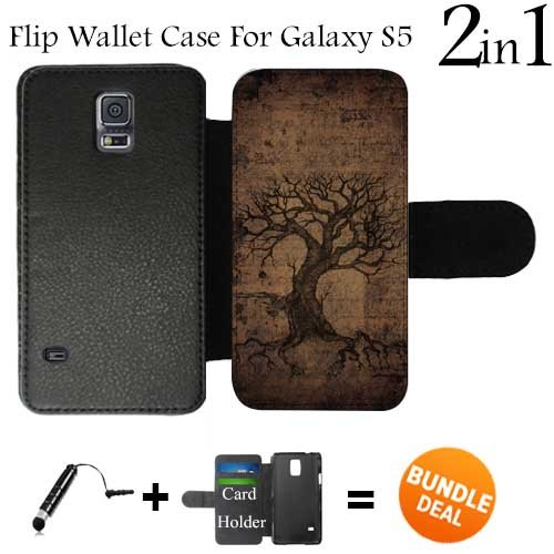 Vintage Ancient Tree of Life Custom Galaxy S5 Cases Flip Wallet Case,Bundle 2in1 Comes with Custom Wallet Case/Universal Stylus Pen by innosub