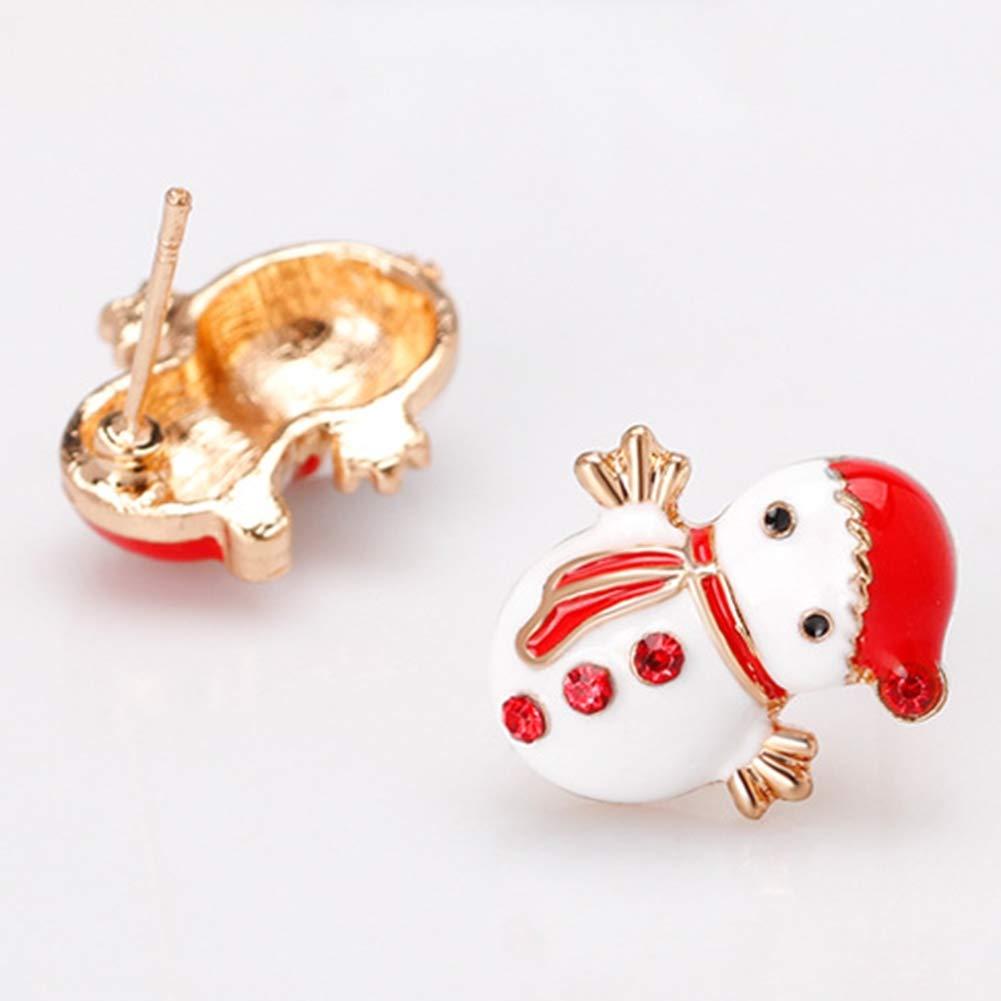Babasee Christmas Snowman Stud Earrings Christmas Gifts for Girls Kids Cute Festive Earrings