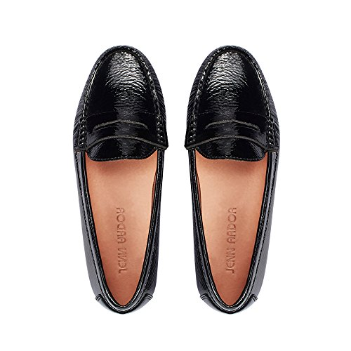 fers for Women: Vegan Leather Slip-On Comfortable Driving Moccasins Flats Pblack 9 M US ()