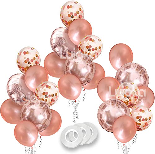 Lujoka Rose Gold Balloons - Foil & Latex Premium Balloon Set with Confetti 24 Pcs - 18 & 12 inches, 3 Styles + 3 Ribbons - Ideal for Weddings, Birthdays Supplies, Bridal Shower, Engagement Party