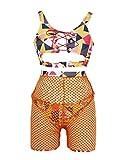 Womens Sexy Swimwear Push-up Padded Front Lace up Bathing Suit Fashion Geometric Patterns Bikini Sets (Orange, L)
