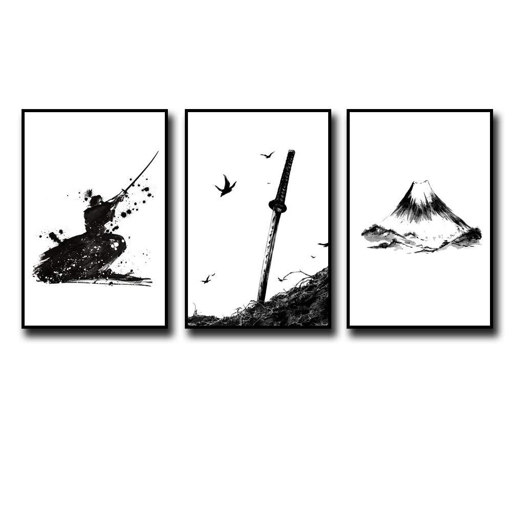 MM Art- 3Pcs Black White Japanese Samurai Poster Bushido Art Katana Ink Drawing Nordic Minimalism Japan Mount Fuji Painting Canvas Picture Wall Art Decor for Living Room