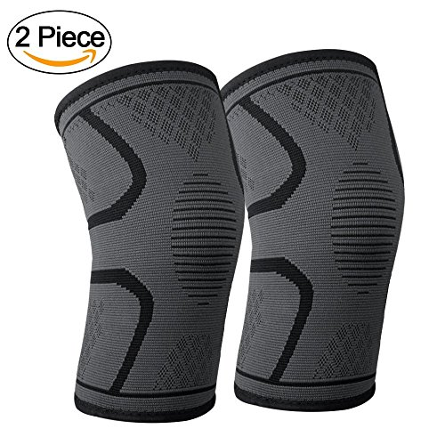 Lonew Compression Knee Sleeve, Best Knee Brace Support for Sports, Running, Jogging, Basketball, Joint Pain Relief, Arthritis and Injury Recovery&More, Men and Women (2 Piece)M Fly Knee Brace