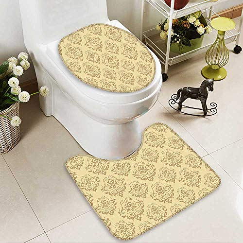 SOCOMIMI Printed Bath Rug Set Regular Damask Patterns Islamic Antique Lace Floral Patterns Oriental Style Decorative Art Beige 3D Digital Printing Rug Set by SOCOMIMI