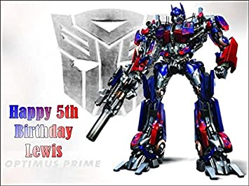 Tremendous A4 Transformers Optimus Prime Personalised Edible Icing Birthday Personalised Birthday Cards Paralily Jamesorg