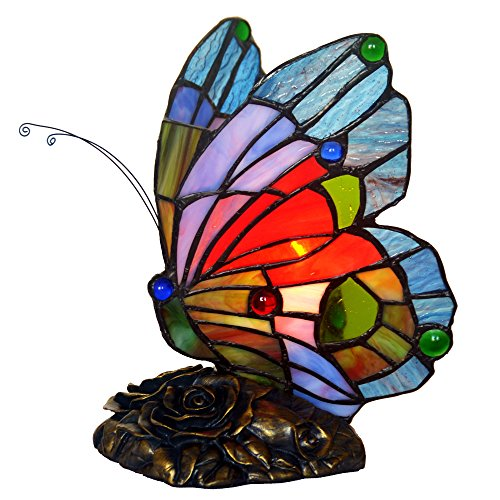 Bieye L10042 8 inch Butterfly Tiffany Style Stained Glass Accent Table Lamp (Multi-Colored E) ()