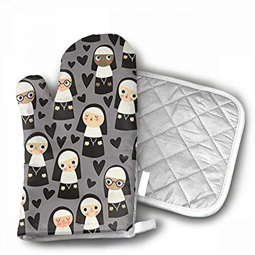 Nuns On Gray Heart Oven Mitts,Professional Heat Resistant Mi