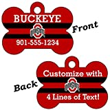 Ohio State Buckeyes Red Double Sided Pet Id Dog Tag Personalized With 4 Lines of Text