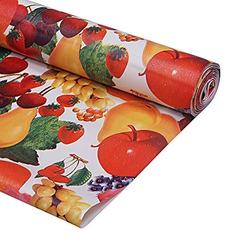 Kuber Industries Flower Design PVC Wardrobe Kitchen Drawer Cupboard Cabinet Shelf Mat, Shelf Liner 5 Mtr (Cream…