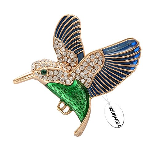 Enamel Bird Pin (NOUMANDA Hummingbird Brooch Pin Crystal Enamel Gold Emerald Bird Broaches Jewelry for Birds Lover (green and blue) )