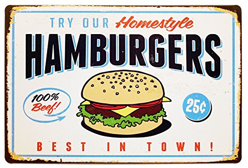 ERLOOD Best in Town Hamburgers Retro Vintage Bar Signs Tin Sign Vintage Decor ()