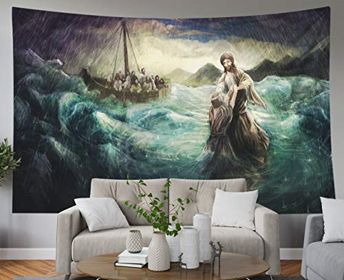 Shorping Blue Tapestries, 80x60Inches Hanging Wall Tapestry for Décor Living Room Dorm Christ Walk on Water]()