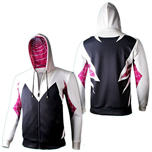 8941f19ce Unisex Spider Gwen Stacy Cosplay Cotton Zip up Hoodies Size Run Small  delicate