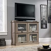 Sauder Barrister Lane Highboy TV Stand for TVs up to 42, Salt Oak Framed, Safety-Tempered Glass
