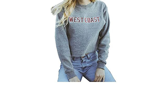 EDC-OnSale New Autumn Letters Printed Short Sweatshirts Women Gray Hoodies Harajuku West Coast Cropped Sweatshirts at Amazon Womens Clothing store: