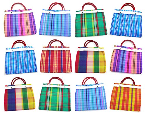 Small Mexican Tote Bags 7.5'' by 7.5'' - Assorted Colors - Set of 12 by MoreFiesta