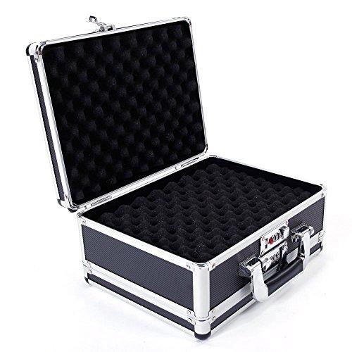 SSline Locking Personal Security Box,301523cm Aluminum New Framed Locking Gun Pistol Handgun Lock Box Hard Storage Carry Case, -
