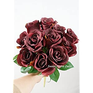 Sweet Home Deco 16'' Silk Rose Artificial Flower Bouquet (12 Stems/12 Flowers) Wedding Home Decorations (Burgundy) 4