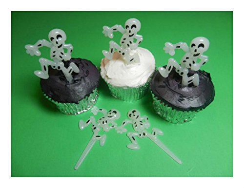 (Available now! 12 Skeleton Halloween Glow in the Dark Cupcake Toppers Picks Cake Decorations)