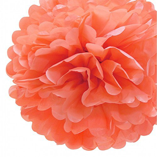 """Funny Zakka - 3 Pack of 6""""-16"""" Pom Poms Crafts Birthday Room Ornaments Decoration - Colorful Tissue Paper Flowers Blooms (16""""-40CM, Energy Coral)"""