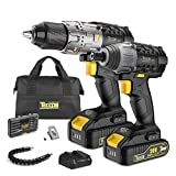 TECCPO 20V Max Lithium Drill Driver/Impact Combo Kits with 2 pcs 2.0Ah Batteries, 30-Minute Fast Charger, 29pcs Accessories