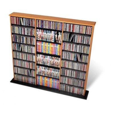 Prepac Black Triple-Width Wall Media Storage Rack