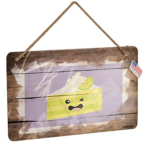 NEONBLOND Metal Sign Key Lime Pie Slice Cute, Japanese Kawaii Food with Face Christmas Wood Print - Key Lime Pie Slice