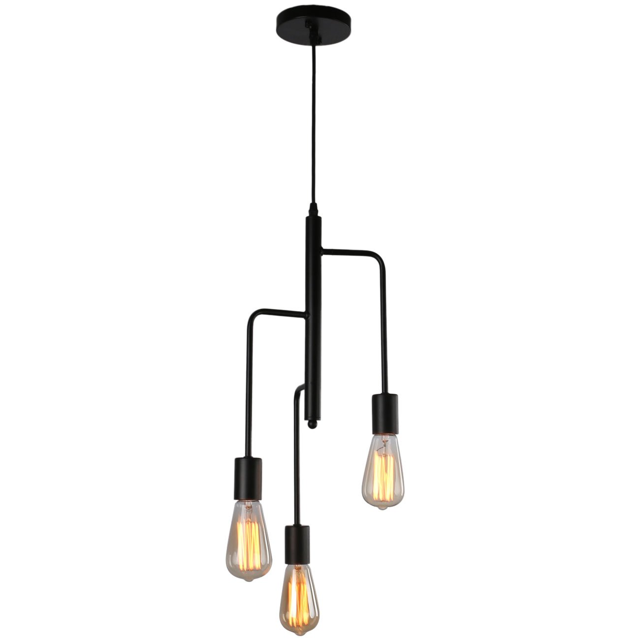 Unitary Brand Modern Black Metal Art Deco Dining Room Pendant Light with 3 E26 Bulb Sockets 120W Painted Finish