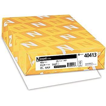 "Exact Index Cardstock, 8.5"" x 14"", 110 lb/199 gsm, White, 94 Brightness, 250 Sheets (40413)"