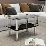Coffee Table Glass 2 Tiers Tempered glass Stainless steel Transparent (top glass), black (bottom glass) sturdy 25.6'' x 17.7'' x 16.9'' Comfyleads
