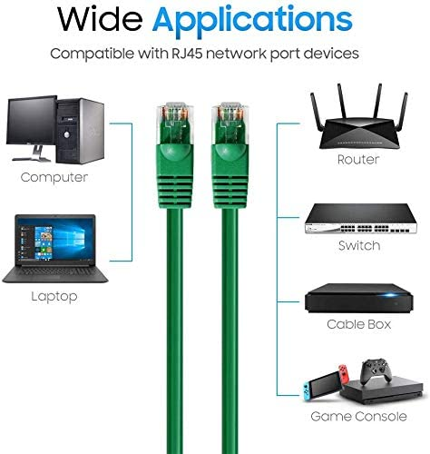 350MHZ 1Gbps Network//Internet Cable Professional Series Green 100 Pack BoltLion BL-690993 Snagless Cat5e RJ45 Ethernet Cable 7 Feet