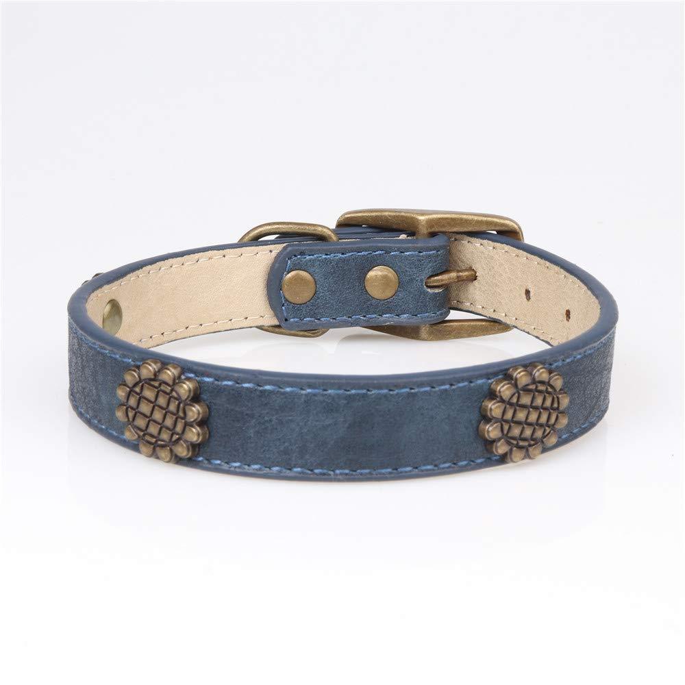 bluee 2.040CM bluee 2.040CM LLIND Home Bronze Sunflower Medium and Large Dog pet Collar pu Collar Dog Ring (color   bluee, Size   2.0  40CM)