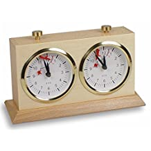 BHB Large Tiltback Analog Chess Clock Game Timer - Natural Wood Case