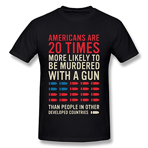 Ldmh Mens Amercians Are 20 Time More Likely To Be Murdered With A Gun Tshirt Black